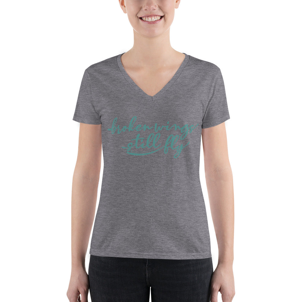 WOMENS SHORT SLEEVE V-NECK T-SHIRT | BROKEN WINGS, STILL FLY