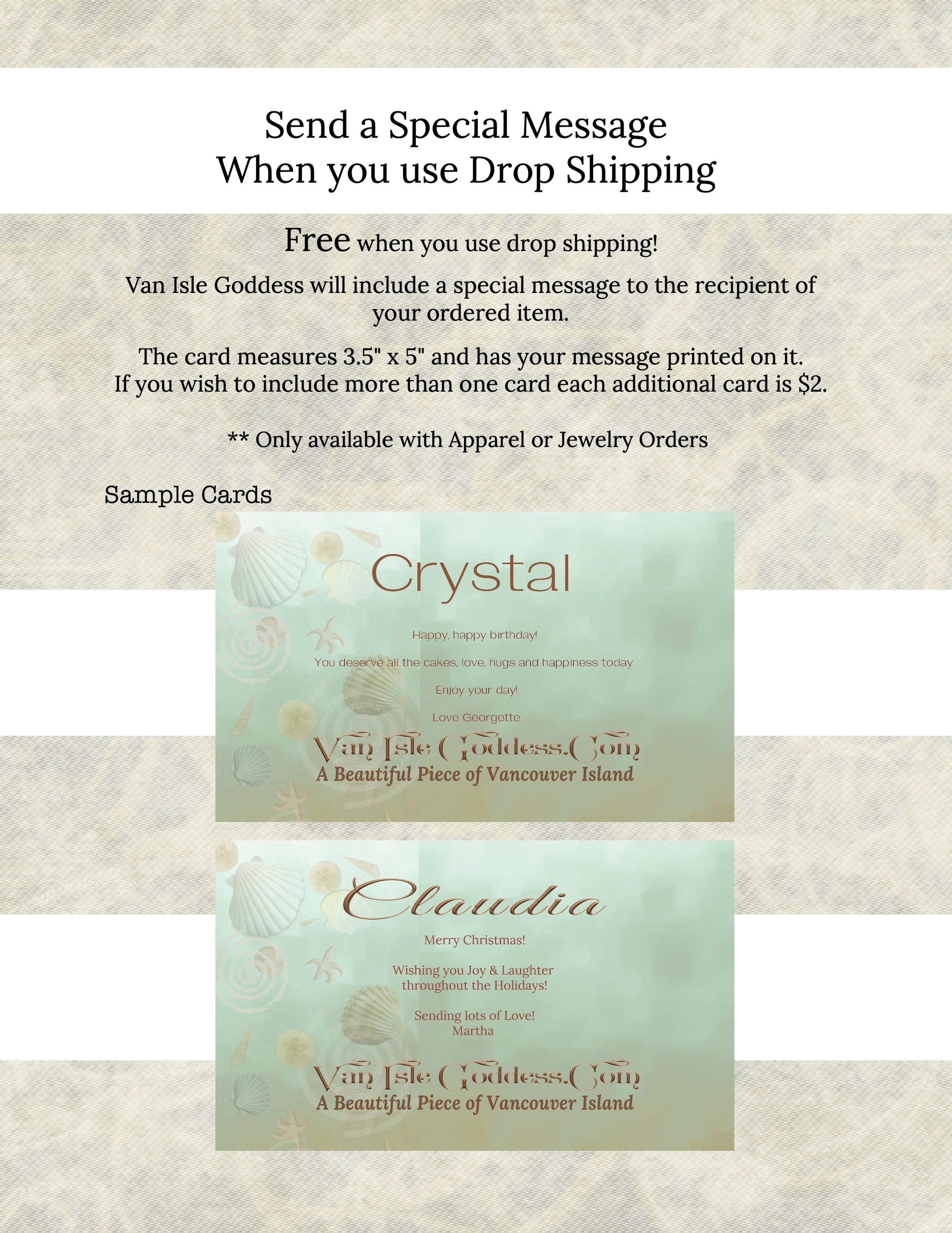 Send a special message when you use Drop Shipping!