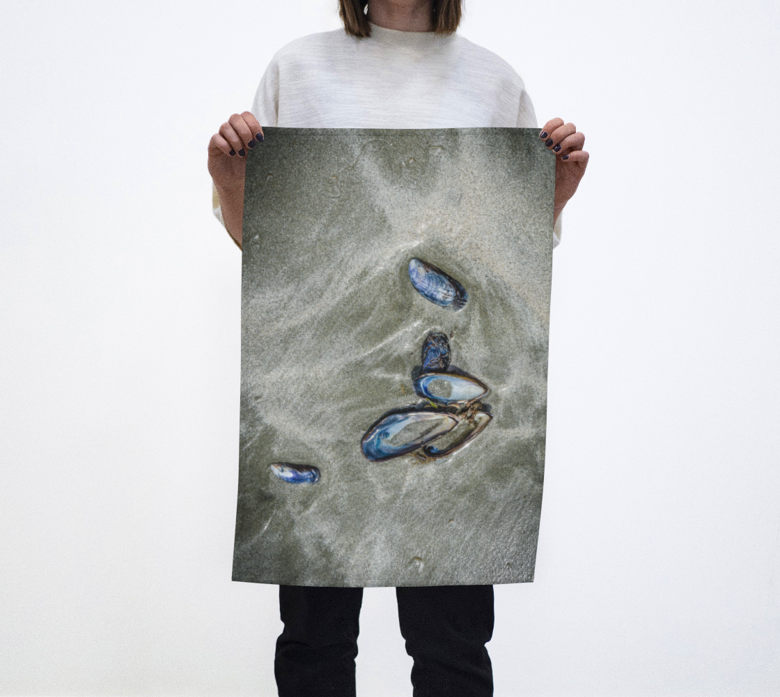 Mussel Shells on Chesterman Beach Tofino Tea Towels Vancouver Island photography by Roxy Hurtubise VanIsleGoddess.com