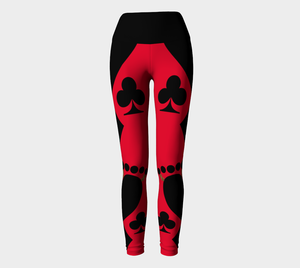Queen of the Club Las Vegas Yoga Leggings Party all night long in my Queen of the Club design!  Look absolutely fabulous in red and black!  The four suites plus the Winning dollar signs to bring you good luck!!  Roll the dice, place your chips, it's showtime and your the star!  Great travel wear. By Van Isle Goddess