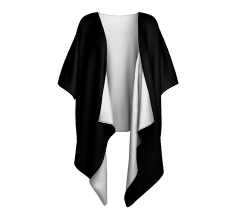 Goddess Black Solid Colour Draped Kimono  Draped kimono made in your choice of chiffon or silky knit. Add fringe for an extra touch of glamour. Easy to throw on or dress up in. VanIsleGoddess.com