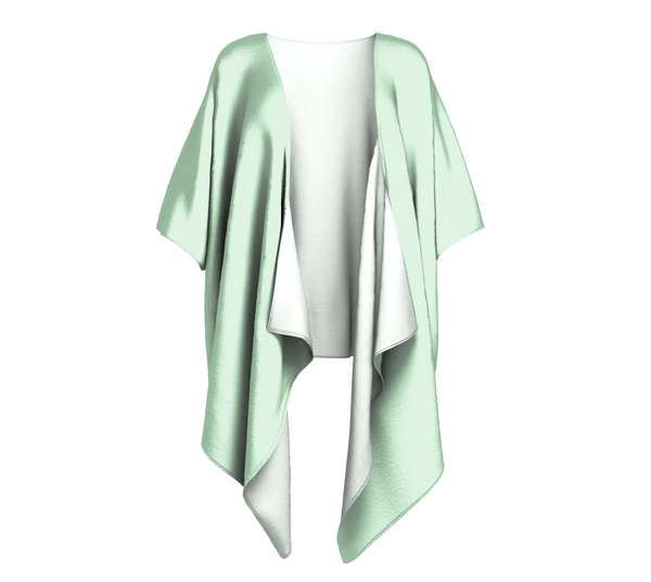 Island Goddess Green Solid Colour Draped Kimono  Draped kimono made in your choice of chiffon or silky knit. Add fringe for an extra touch of glamour. Easy to throw on or dress up in.  VanIsleGoddess.Com