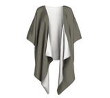 Gray Day Gray Solid Colour Draped Kimono  Draped kimono made in your choice of chiffon or silky knit. Add fringe for an extra touch of glamour. Easy to throw on or dress up in. VanIsleGoddess.Com