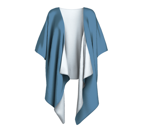 Driftwood Blue Solid Colour Draped Kimono  Draped kimono made in your choice of chiffon or silky knit. Add fringe for an extra touch of glamour. Easy to throw on or dress up in. VanIsleGoddess.com