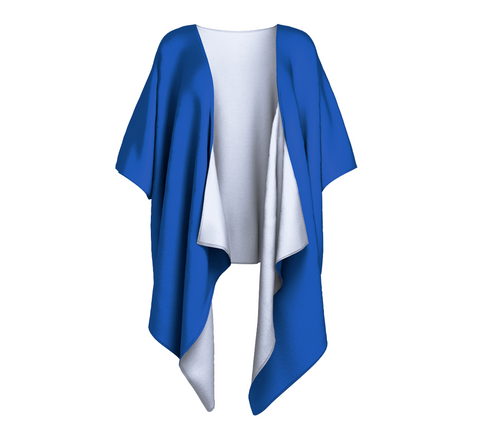 Seal of Blue Blue Solid Colour Draped Kimono  Draped kimono made in your choice of chiffon or silky knit. Add fringe for an extra touch of glamour. Easy to throw on or dress up in. VanIsleGoddess.com