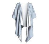 Cox Bay Afternoon Sky Gray Solid Colour Draped Kimono  Draped kimono made in your choice of chiffon or silky knit. Add fringe for an extra touch of glamour. Easy to throw on or dress up in. VanIsleGoddess.Com