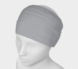 Gray Day Silver Solid Colour Headband  Art meets the most versatile of fashion accessories. The headband.    You can wear it in so many different ways: a pony tail holder, hood, face mask, hat liner, wrist band, sun protector.   So easy to wear. Perfect for working out, staying warm, hiking, or as a pop of colour to add to any look.  Compact enough to fit in your pocket, purse, or back pack.  Makes a great gift idea too! By VanIsleGoddess.Com