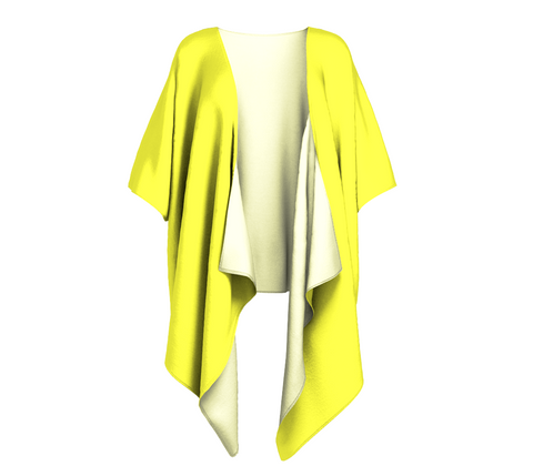 In the Sunshine Yellow Solid Colour Draped Kimono  Draped kimono made in your choice of chiffon or silky knit. Add fringe for an extra touch of glamour. Easy to throw on or dress up in. VanIsleGoddess.Com