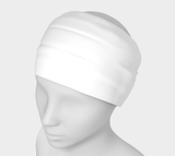 Goddess White Solid Colour Headband  Art meets the most versatile of fashion accessories. The headband.    You can wear it in so many different ways: a pony tail holder, hood, face mask, hat liner, wrist band, sun protector.   So easy to wear. Perfect for working out, staying warm, hiking, or as a pop of colour to add to any look.  Compact enough to fit in your pocket, purse, or back pack.  Makes a great gift idea too! By VanIsleGoddess.com