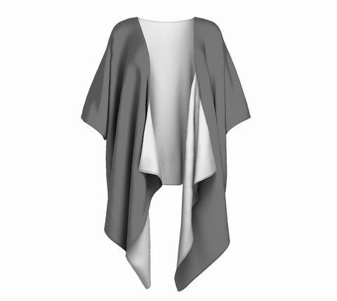 Long Beach Tofino Cloud Gray Solid Colour Draped Kimono  Draped kimono made in your choice of chiffon or silky knit. Add fringe for an extra touch of glamour. Easy to throw on or dress up in. VanIsleGoddess.com