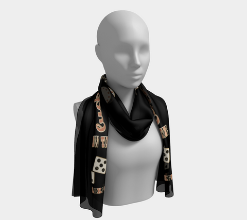 Showtime Las Vegas Long Scarf Wear as a scarf, shawl or as a head wrap.  Use for home decor as a wall hanging, also makes fabulous Wedding Party Gifts!    Artwork printed on 100% polyester lightweight fabric.    Choose from three different fabrics polychiffon, satin charmeuse and matte crepe.    Machined baby rolled edge hem finish.  Choose from 2 sizes.  By Van Isle Goddess.