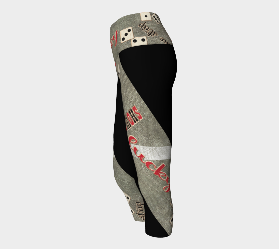 "The Strip Las Vegas Yoga Capris Take the high road to Las Vegas in my ""The Strip"" design.  Roll the dice, place your chips, it's showtime and your the star!  Great travel wear.  By Van Isle Goddess"