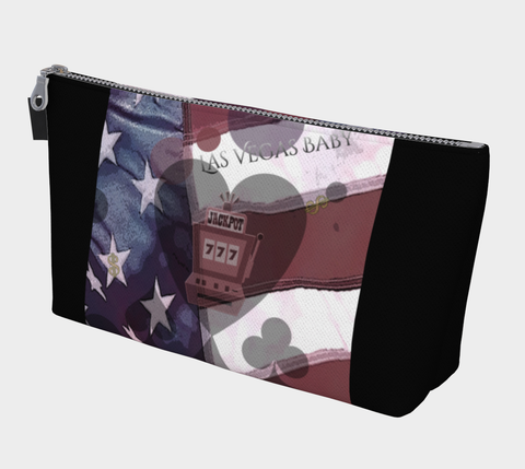 Viva Las Vegas Makeup Travel Bag You can use this versatile case for almost anything!  Makeup, change purse, phone holder, cords and chargers, art pencils, keys, vacation money, protect your passport or organize almost anything you wish.    Artwork by Roxy Hurtubise
