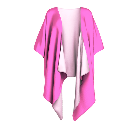 Pink Sand Pink Solid Colour Draped Kimono  Draped kimono made in your choice of chiffon or silky knit. Add fringe for an extra touch of glamour. Easy to throw on or dress up in. VanIsleGoddess.Com