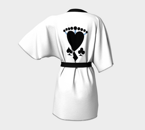 Queen of Cards Las Vegas Kimono Robe  Look absolutely fabulous in white and black!  The four suites plus the Winning dollar signs in blue to bring you good luck!!
