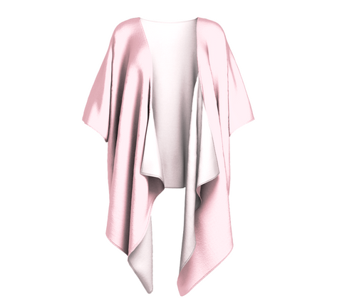 Illuminated Rose Soft Pink Solid Colour Draped Kimono  Draped kimono made in your choice of chiffon or silky knit. Add fringe for an extra touch of glamour. Easy to throw on or dress up in. VanIsleGoddess.Com