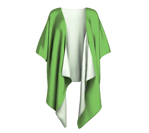 Heart Centered Green Solid Colour Draped Kimono  Draped kimono made in your choice of chiffon or silky knit. Add fringe for an extra touch of glamour. Easy to throw on or dress up in. VanIsleGoddess.com