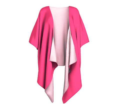 Illuminated Rose Pink Solid Colour Draped Kimono  Draped kimono made in your choice of chiffon or silky knit. Add fringe for an extra touch of glamour. Easy to throw on or dress up in. VanIsleGoddess.com