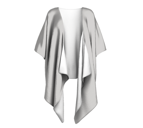 Miracle Beach Gray Solid Colour Draped Kimono  Draped kimono made in your choice of chiffon or silky knit. Add fringe for an extra touch of glamour. Easy to throw on or dress up in. VanIsleGoddess.com