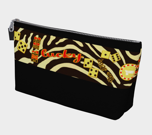 Lucky Las Vegas Makeup Travel Bag You can use this versatile case for almost anything!  Makeup, change purse, phone holder, cords and chargers, art pencils, keys, vacation money, protect your passport or organize almost anything you wish.  Artwork by Roxy Hurtubise