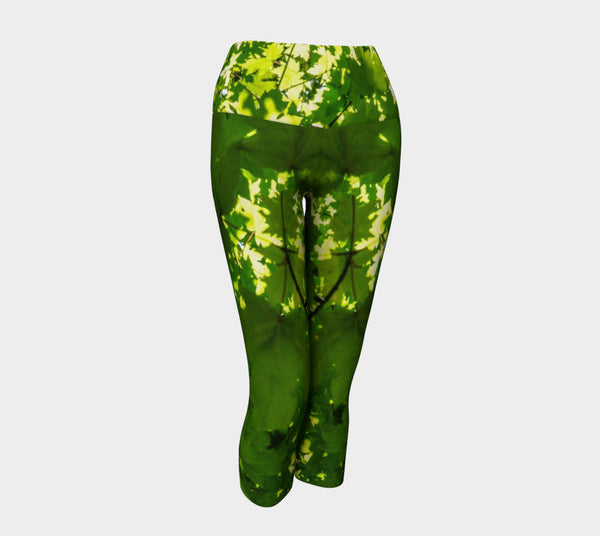 Canopy of Leaves Yoga Capris by Roxy Hurtubise VanIsleGoddess.Com Front