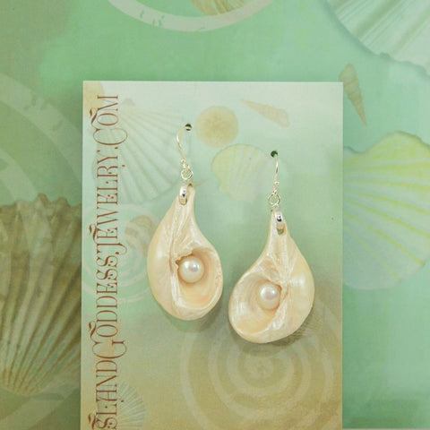 IG107E Cinderella Island Goddess Earrings made from natural seashells and freshwater pearls. VanIsleGoddess.Com