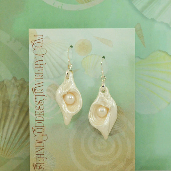 IG111E Promise Island Goddess Earrings made from natural seashells and freshwater pearls. VanIsleGoddess.Com