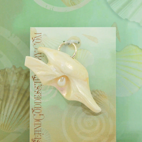 IG42 Transformation natural seashell pendant with freshwater pearl Island Goddess Jewelry VanIsleGoddess.Com