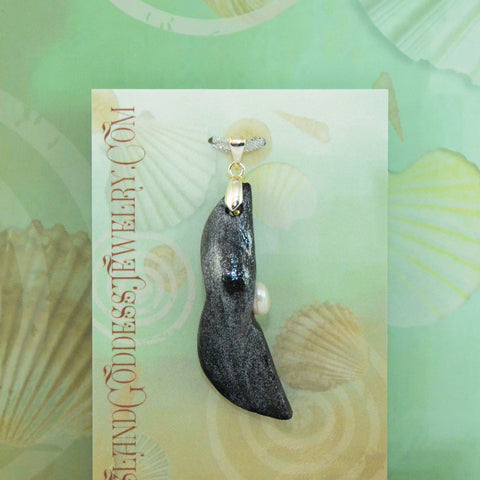 Lunar Eclipse natural seashell pendant with freshwater pearl Island Goddess Jewelry VanIsleGoddess.Com