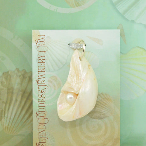 IG51 Luna natural seashell pendant with freshwater pearl Island Goddess Jewelry VanIsleGoddess.Com