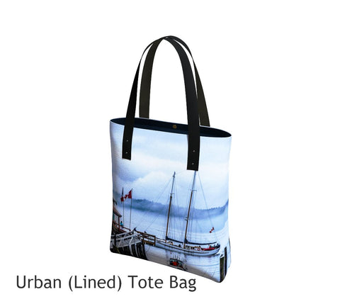 Telegraph Cove Tote Bag Basic and Urban Tote Bags featuring printed artwork by Roxy Hurtubise.