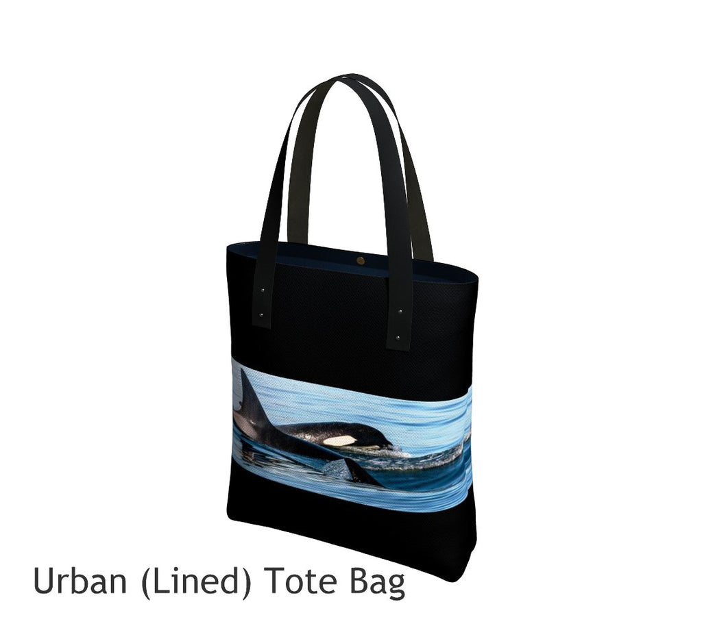 Orca Pod Tote Bag Basic and Urban Tote Bags featuring printed artwork by Roxy Hurtubise