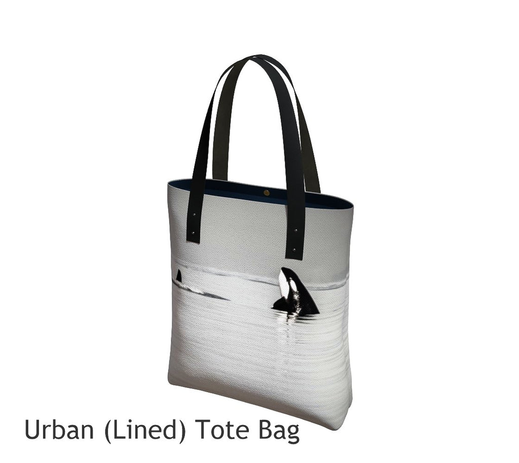 Orca Spy Hop Tote Bag Basic and Urban Tote Bags featuring printed artwork by Roxy Hurtubise.