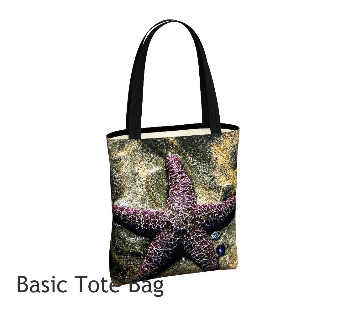 Starfish Tote Bag Basic and Urban Tote Bags featuring printed artwork by Roxy Hurtubise.