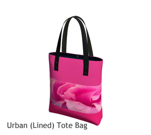 Rose Petal Kiss Basic and Urban Tote Bags featuring printed artwork by Roxy Hurtubise.