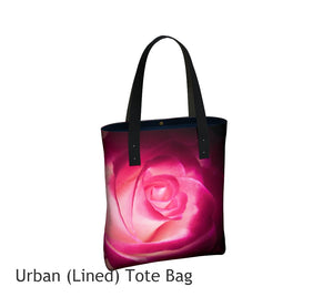 Illuminated Rose Basic and Urban Tote Bags featuring printed artwork by Roxy Hurtubise.