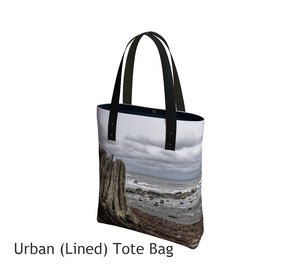 Gray Day Basic and Urban Tote Bags featuring printed artwork by Roxy Hurtubise.