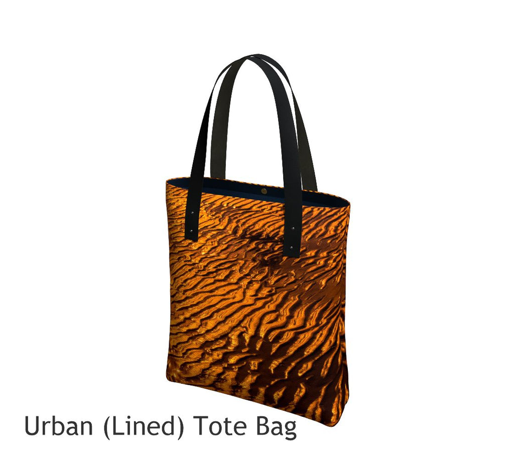 Golden Sand Basic and Urban Tote Bags featuring printed artwork by Roxy Hurtubise.