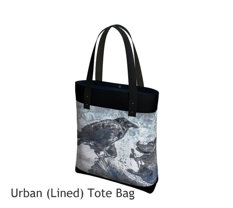 Raven Blue Tote Bag Basic and Urban Tote Bags featuring printed artwork by Roxy Hurtubise.