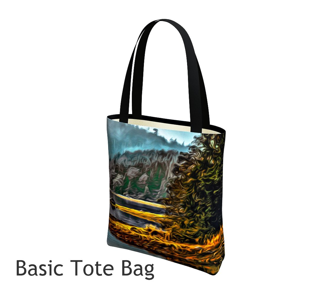 Wild Pacific Ucluelet Tote Bag Basic and Urban Tote Bags featuring printed artwork by Roxy Hurtubise.