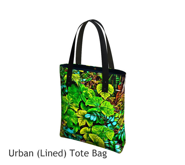 Forest Floor Basic and Urban Tote Bags featuring printed artwork by Roxy Hurtubise.