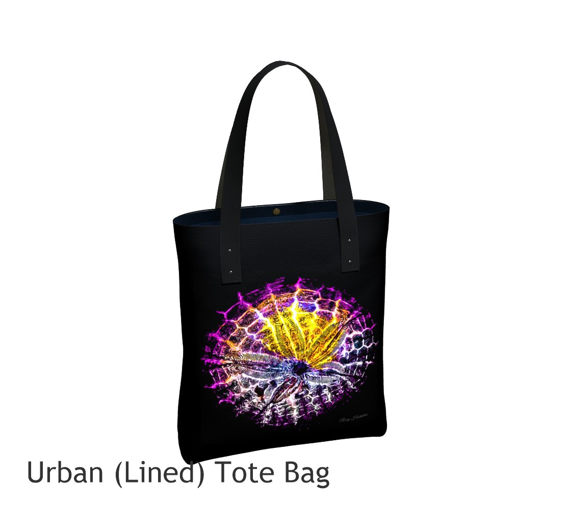 Spotlight Sand Dollar Tote Bag Basic and Urban Tote Bags featuring printed artwork by Roxy Hurtubise.