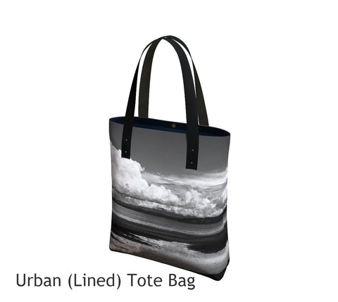 Parksville Beach Tote Bag Basic and Urban Tote Bags featuring printed artwork by Roxy Hurtubise.