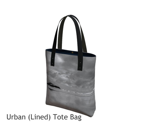 Long Beach Tofino Basic and Urban Tote Bags featuring printed artwork by Roxy Hurtubise.