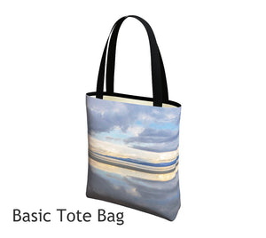 Light Language Parksville Beach Basic and Urban Tote Bags featuring printed artwork by Roxy Hurtubise.