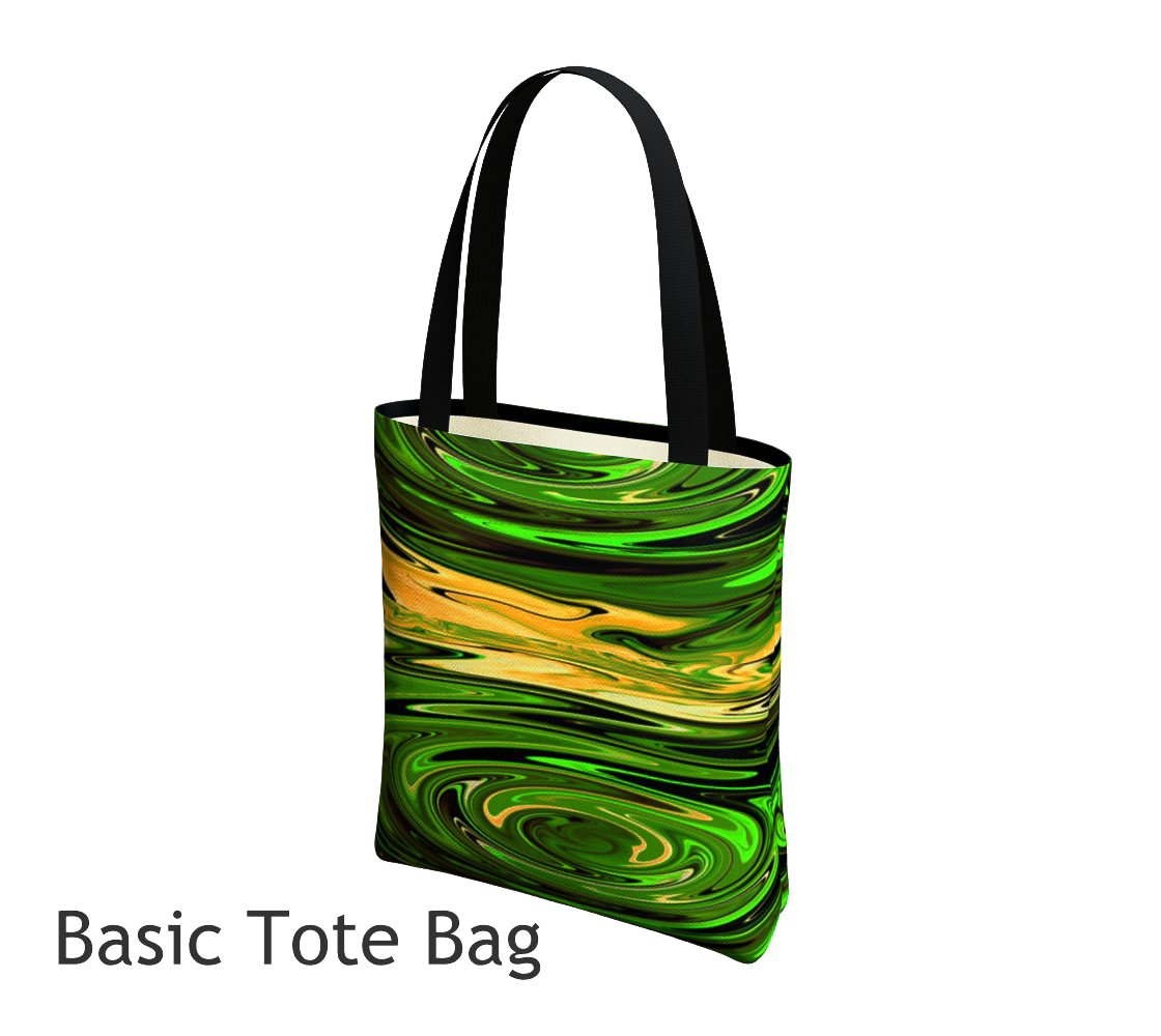 Green Delilah Basic and Urban Tote Bags featuring printed artwork by Roxy Hurtubise.