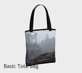 West Coast Landscape Fog Tote Bag Basic and Urban Tote Bags featuring printed artwork by Roxy Hurtubise.