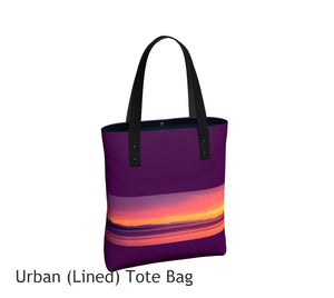 Vancouver Island Sunset Basic and Urban Tote Bags featuring printed artwork by Roxy Hurtubise.