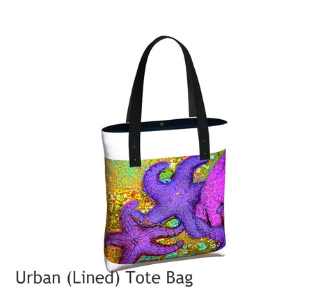 Starfish  Cluster White Tote Bag Basic and Urban Tote Bags featuring printed artwork by Roxy Hurtubise.
