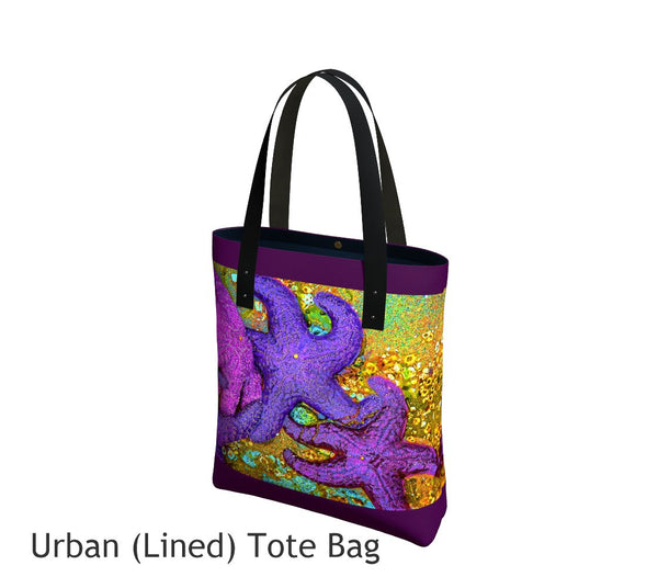 Starfish Cluster Tote Bag Basic and Urban Tote Bags featuring printed artwork by Roxy Hurtubise.